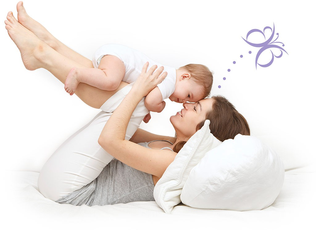 Title Text Mother and Baby on bed