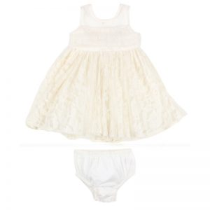 XS16582 LACE TULLE DRESS W BOW IVORY FRONT