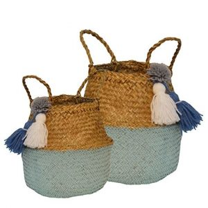 Madras Link Millie Blue Pom Pom Baskets