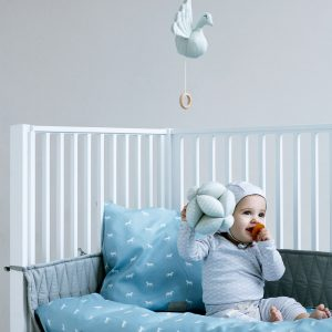 Cam Cam Dusty Blue Horses Cot Bedding