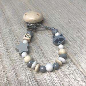 Luna Treasures Grey Star and Reginald Bandit Soother Chain