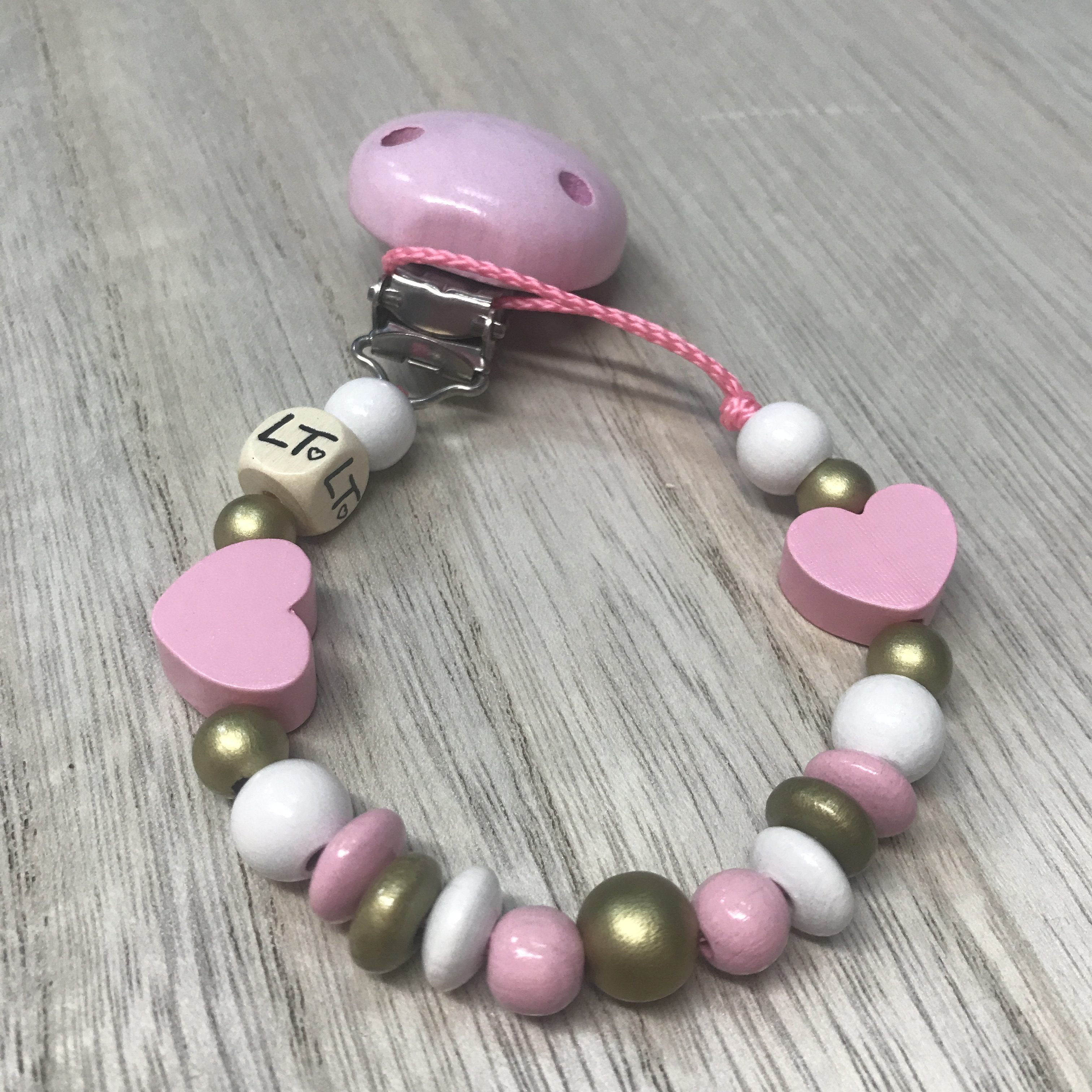 Luna Treasures Pink Hearts Wooden Soother Chain