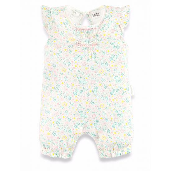 Purebaby Floral Short Leg Growsuit