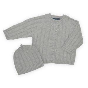 Living Textiles Grey Cable Knit Cardigan & Beanie