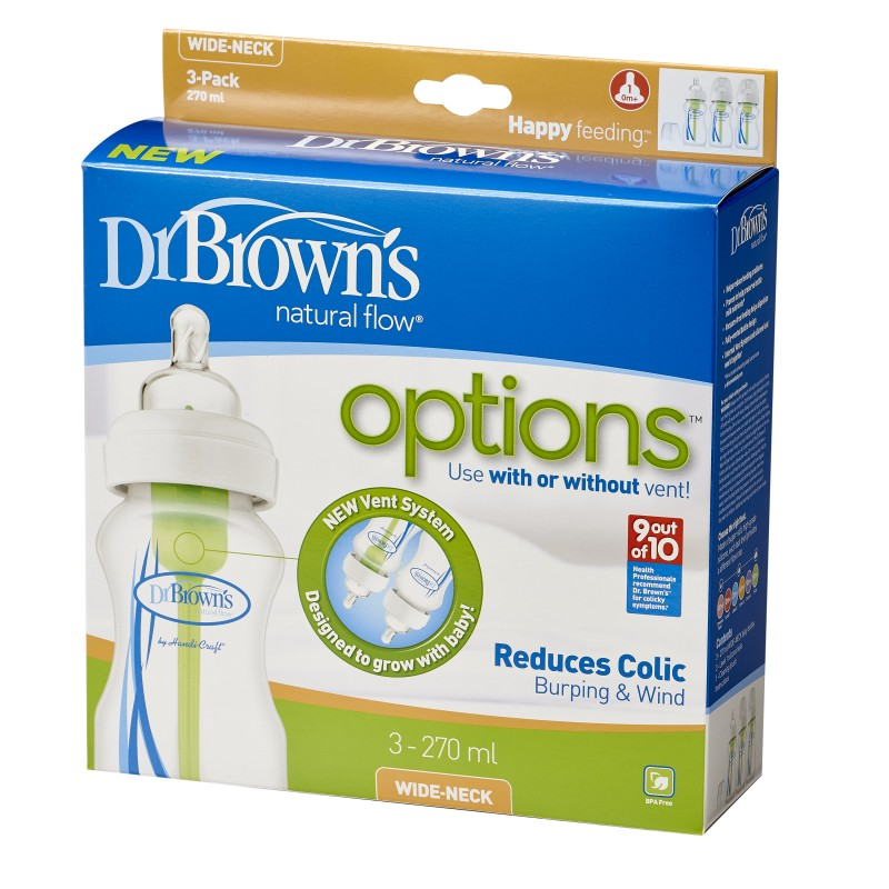 Dr Brown's Options Wide Neck 3-Pack 270ml