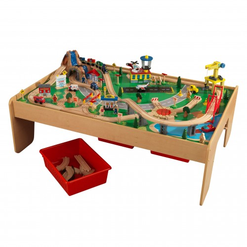 Kidkraft waterfall mountain train table babyroad for Table kidkraft