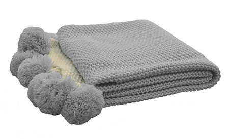 Madras Link Grey Pom Pom Throw