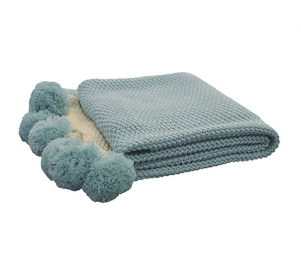Madras Link Light Blue Pom Pom Throw
