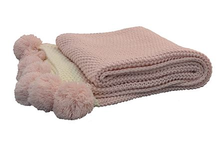 Madras Link Pink Pom Pom Throw