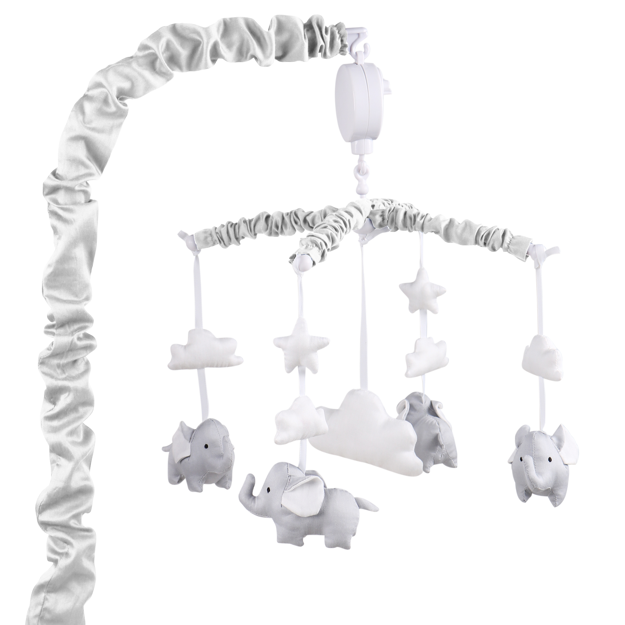 peanut shell grey elephant musical mobile babyroad. Black Bedroom Furniture Sets. Home Design Ideas
