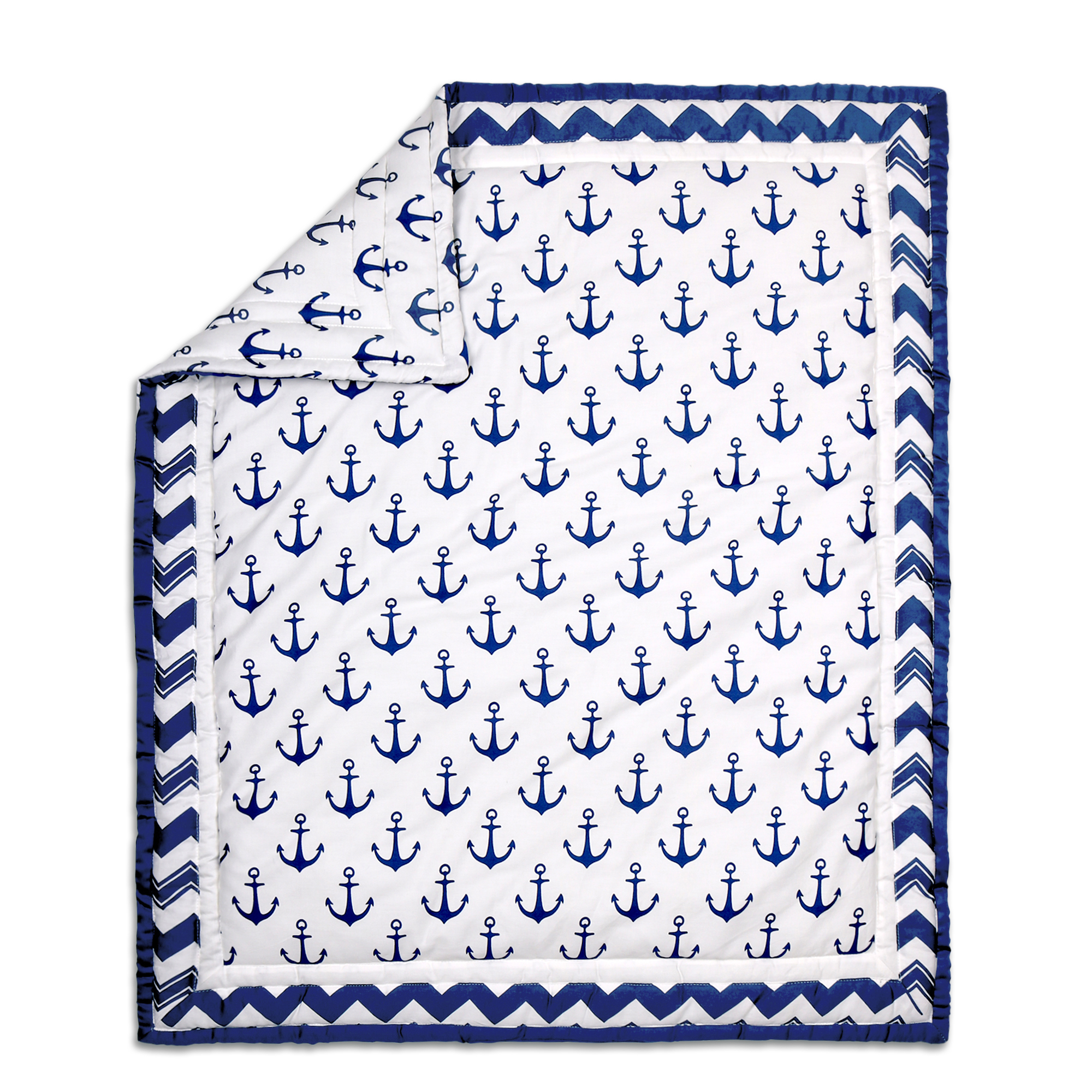 Peanut Shell Navy Anchor Quilt