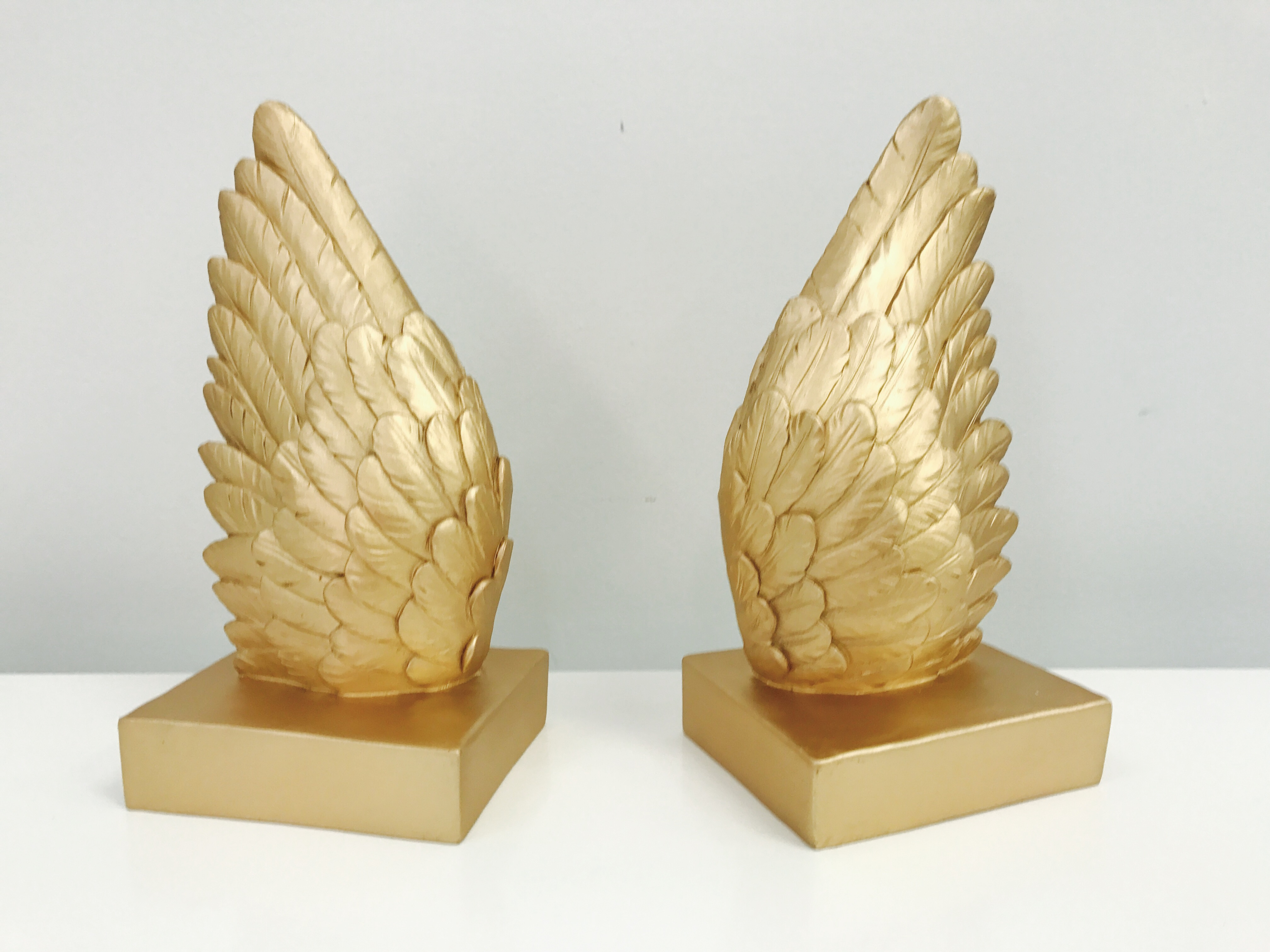 White Moose Angel Wings Bookends