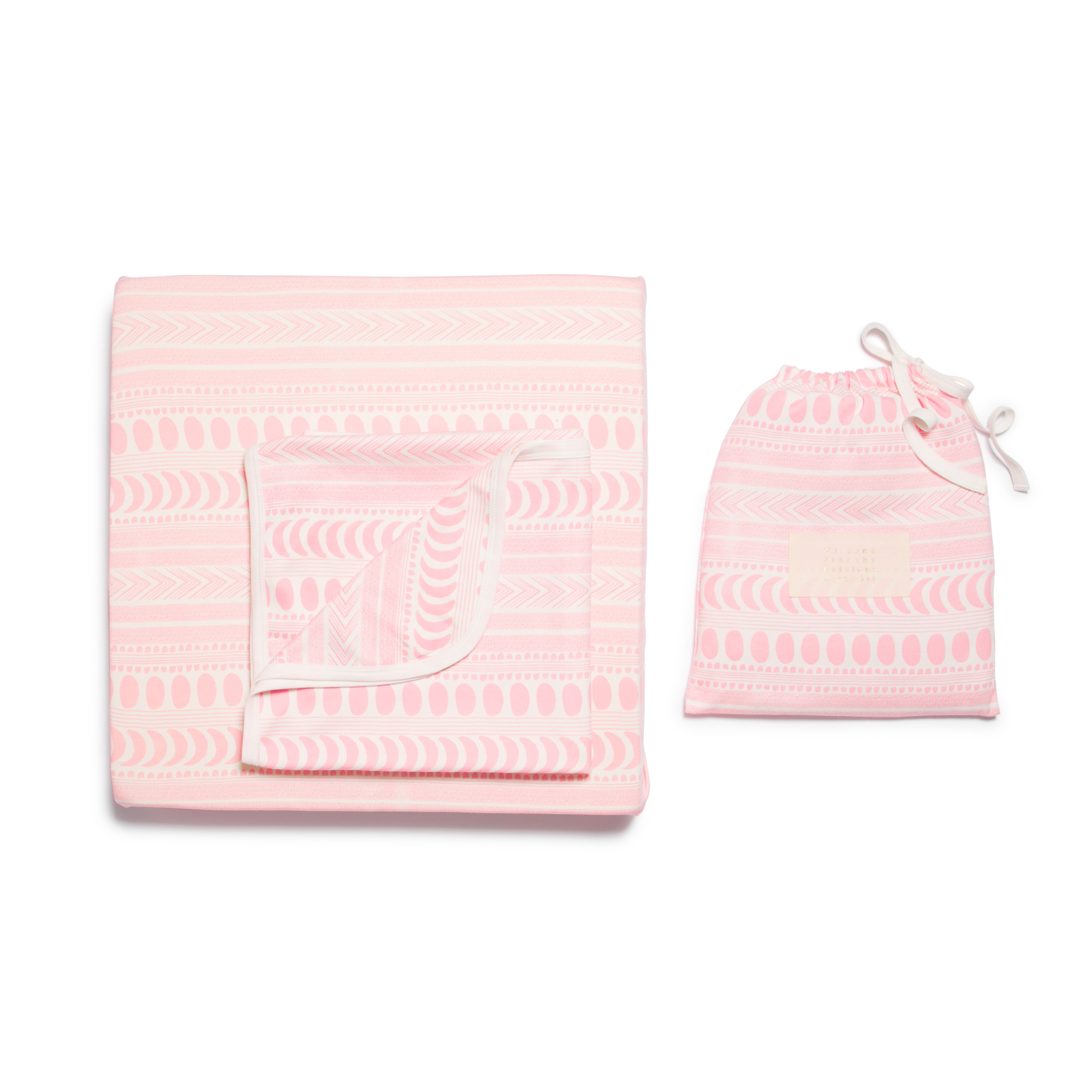Wilson and Frenchy Pink Aztec Moon Cot Sheet Set