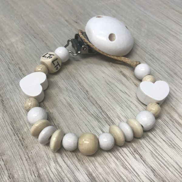 Luna Treasures White Star Wooden Soother Chain