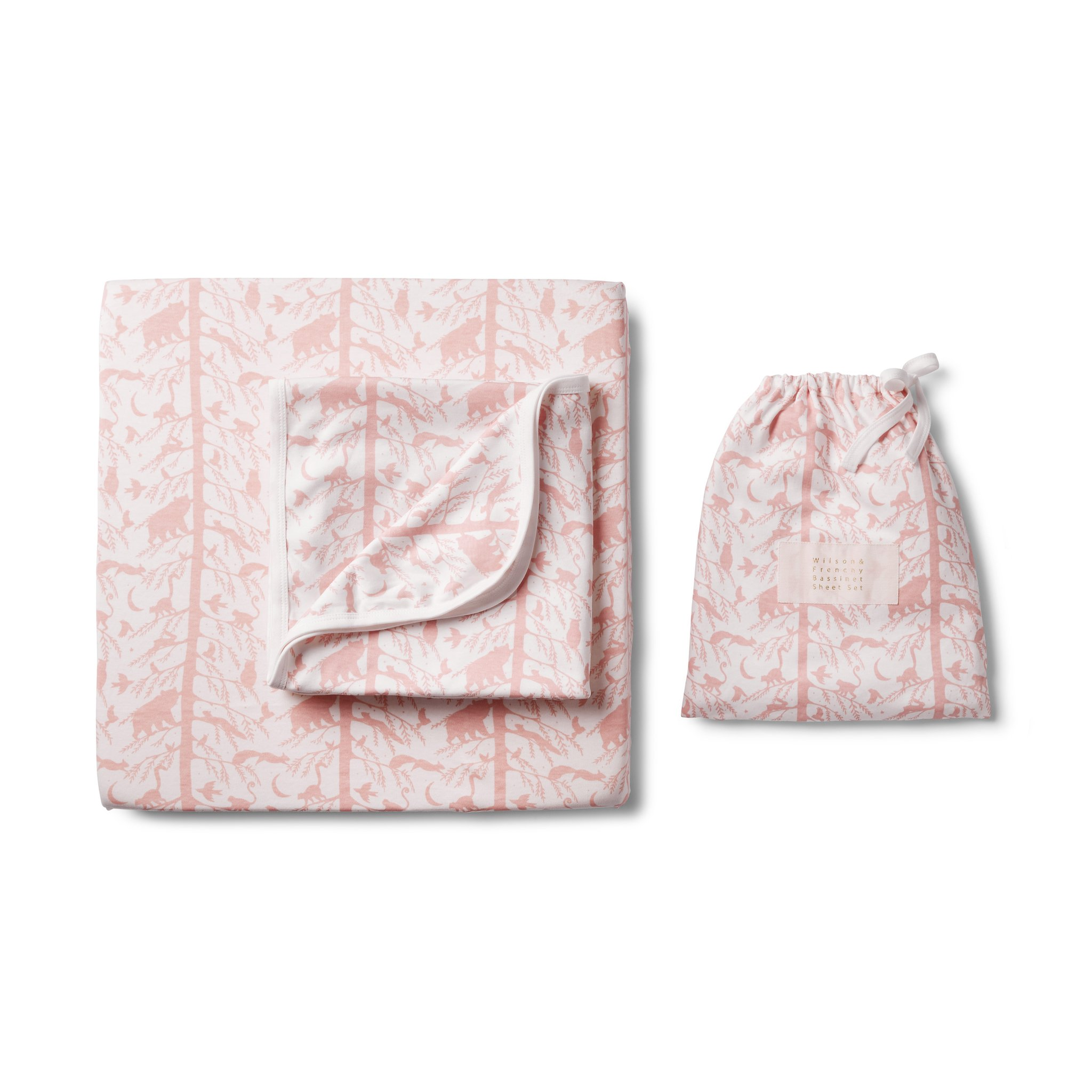 Wilson and Frenchy Pink Adventure Awaits Bassinet Sheet Set