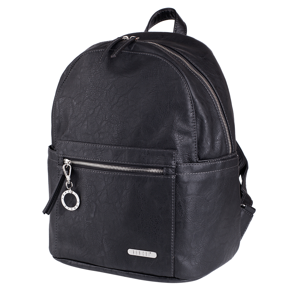 Vanchi Manhatten Backpack Black with Full Accessory Pack