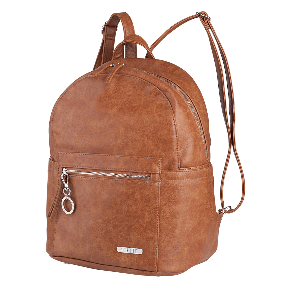 Vanchi Manhatten Backpack Tan with Full Accessory Pack