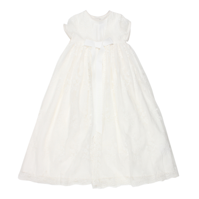 Bebe Special Occassion Short Sleeve Christening Gown with Ivory Lace