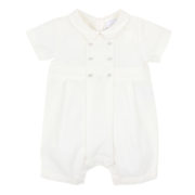 Bebe Special Occassion Ivory Boys Short Sleeve Woven Romper