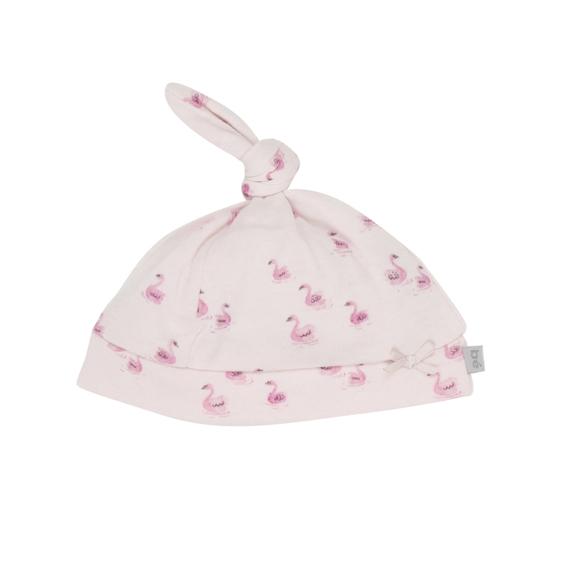 Bebe Annie Swan Print Top Knit Hat