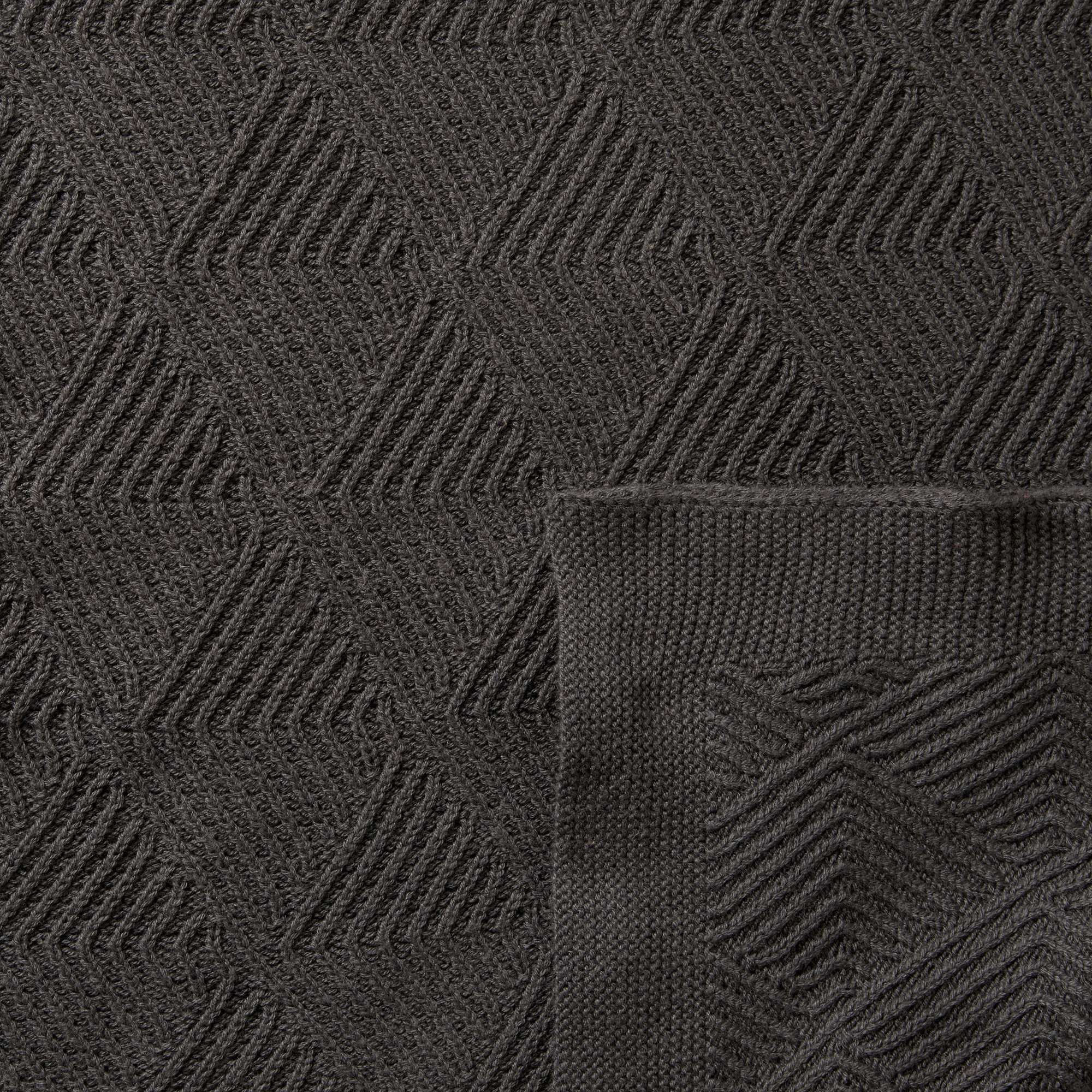 Wilson and Frenchy Dark Moon Scallop Knitted Blanket