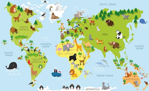 educational wall map with animlas