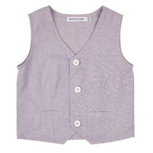 Designer Kidz Toby Linen Vest Grey