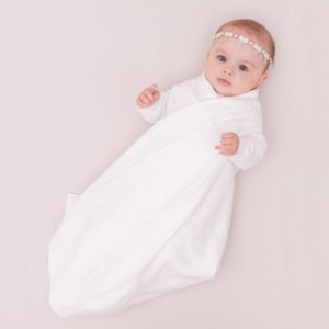 JujoBaby White Cable Edge Schwrap