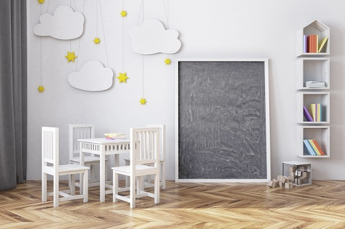 Childrens room with blackboard