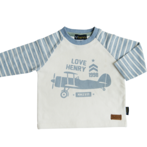Love Henry Blue White Graphic Tee