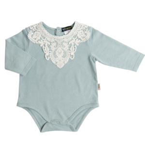 Love Henry Blue Lace Motif Onesie