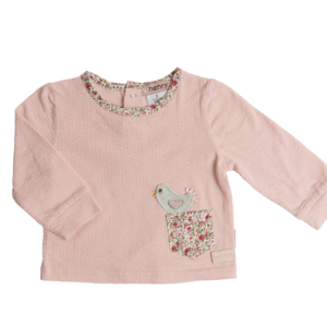 Love Henry Pink Bird Pocket Top
