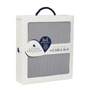 Living Textiles Cot Sheet Grey Stripe