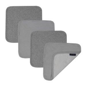 Living Textiles Face Washers Grey Stripe Melange