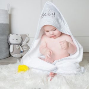 Living Textiles Hooded Towel Grey Stripe