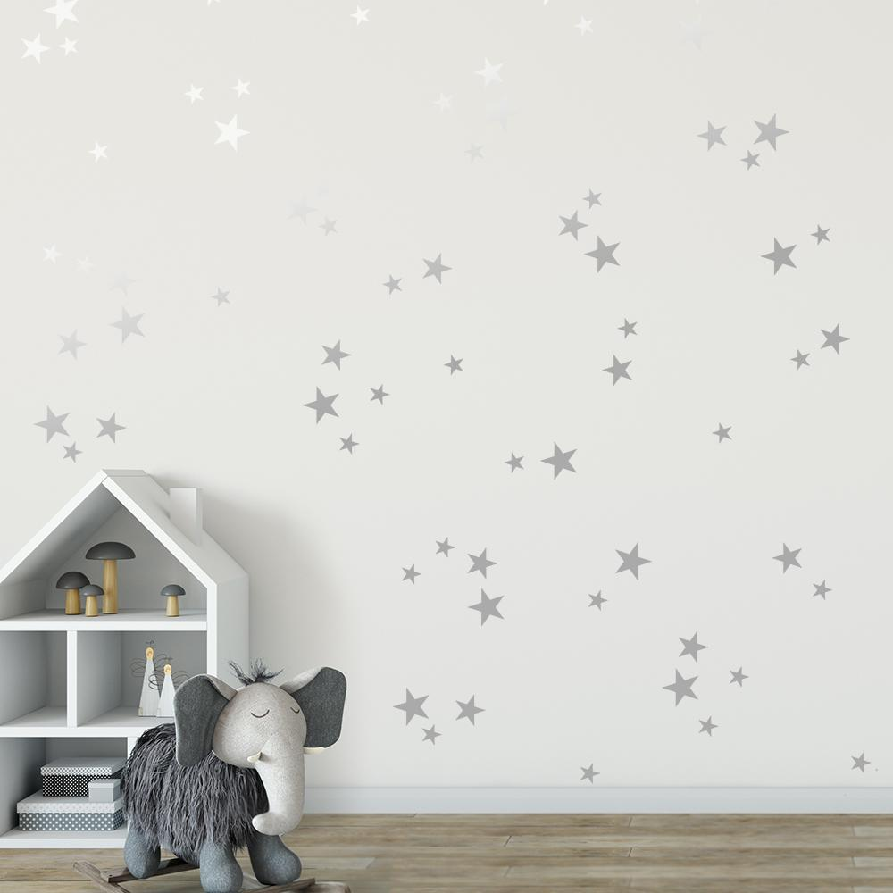 Silver star wall decals