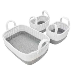 Living Textiles White Grey 3 Piece Storage Set