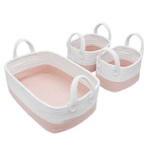 Living Textiles White Pink 3 Piece Storage Set
