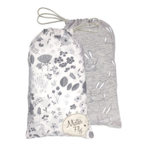 Mister Fly White Floral Jersey Bassinet Sheet Twin Pack
