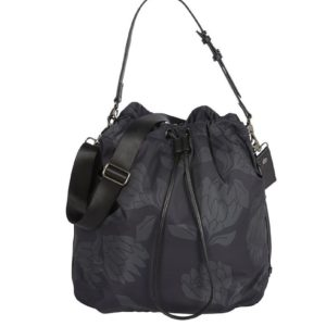 Oioi Drawstring Tote Nappy Bag Protea Black Grey