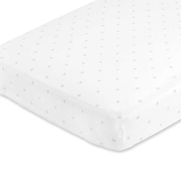 Aden + Anais Grey Water Dot Fitted Cot Sheet