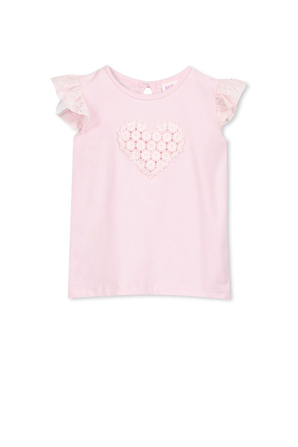Milky Applique Tee Shirt Pink