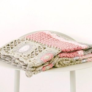 And The Little Dog Dusty Pink Crochet Blanket