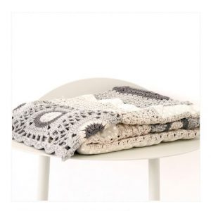 And The Little Dog Cream & Grey Crochet Blanket