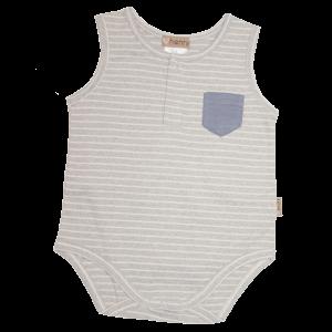 Love Henry Pocket Romper Grey Stripe