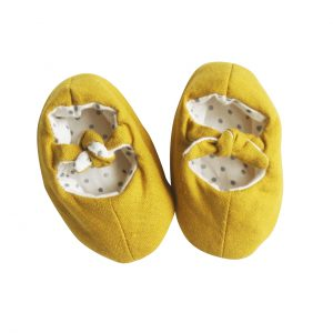 Alimrose Linen Bobby Baby Slippers Butterscotch
