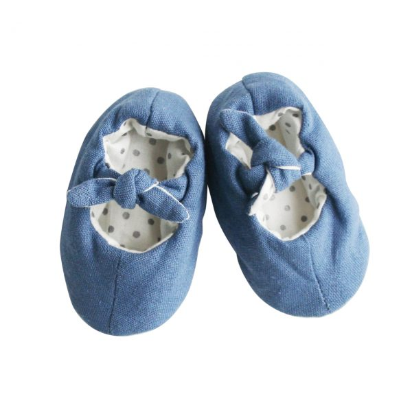 Alimrose Linen Bobby Baby Slippers Chambray