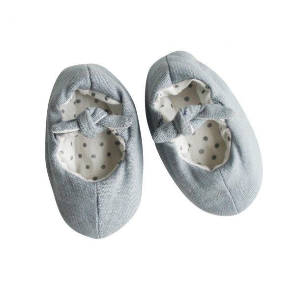 Alimrose Linen Bobby Baby Slippers Grey