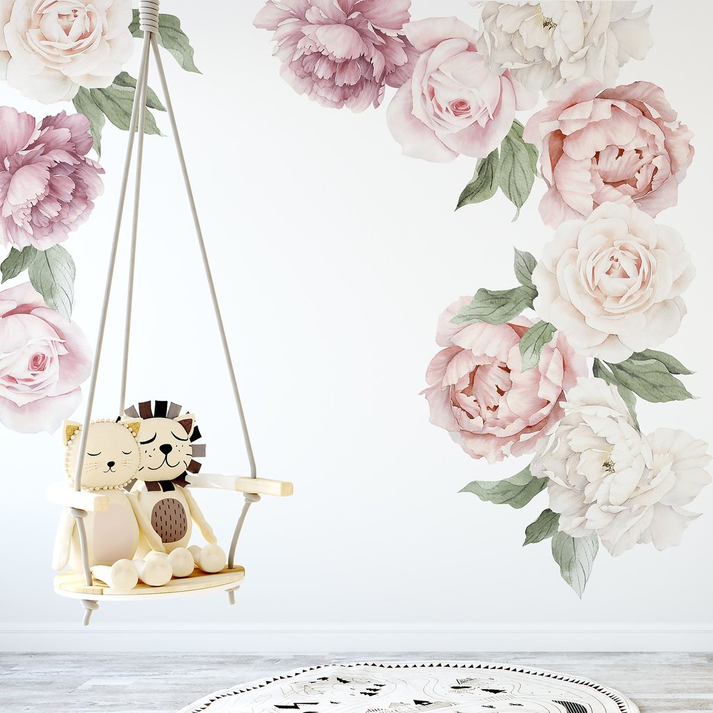 Ginger Monkey Pink Peony Amp Rose Wall Decals Babyroad