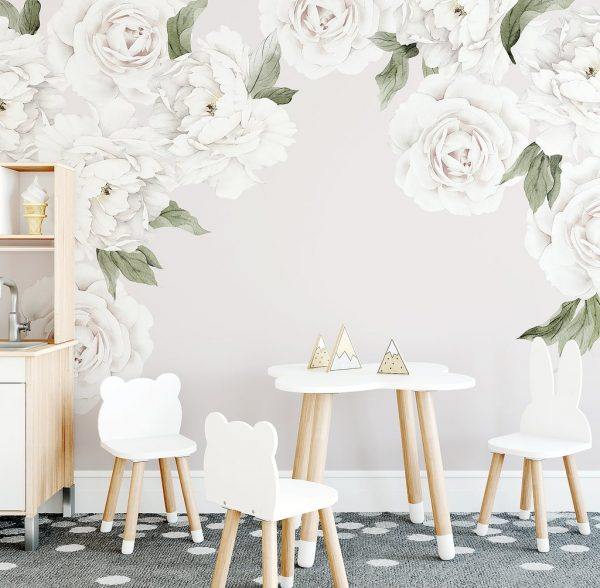 Ginger Monkey White Peony & Rose Wall Decals
